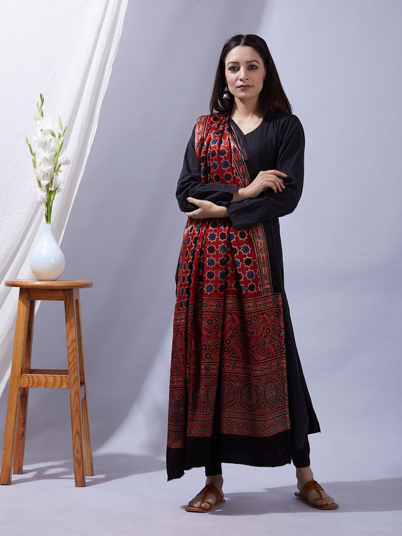 Rust Ajrakh Printed Mashru Silk Dupatta