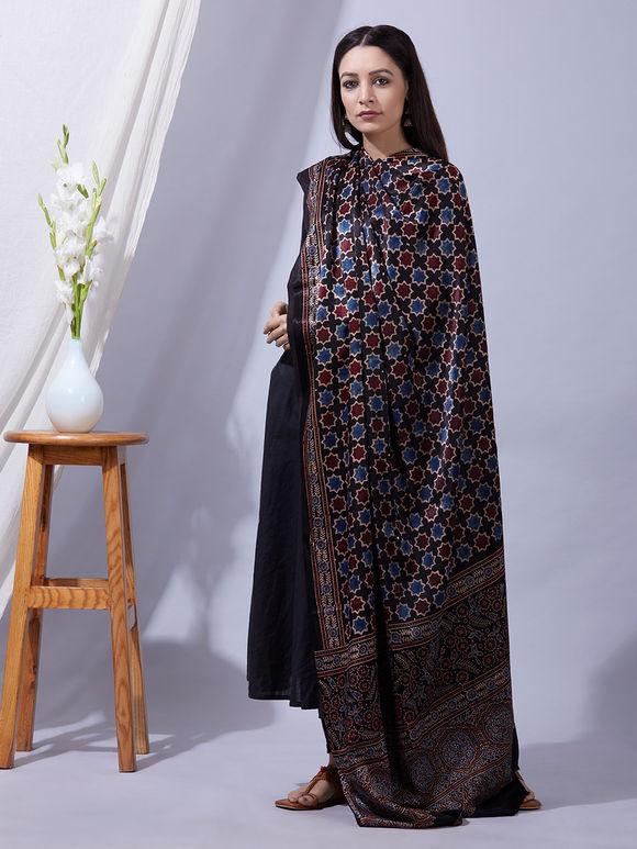 Blue Black Ajrakh Printed Mashru Silk Dupatta