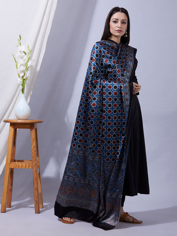 Blue Red Ajrakh Printed Mashru Silk Dupatta