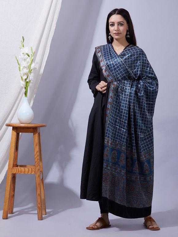 Blue Ajrakh Printed Mashru Silk Dupatta