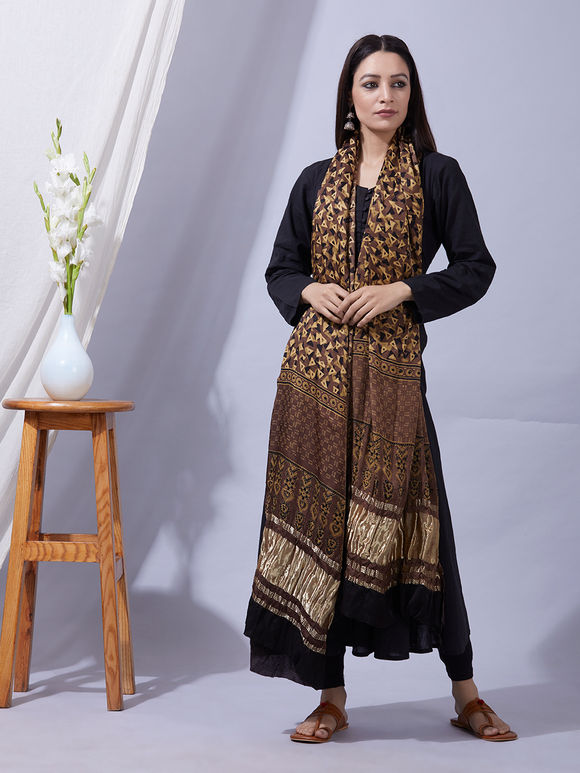 Yellow Brown Ajrakh Printed Modal Silk Zari Dupatta