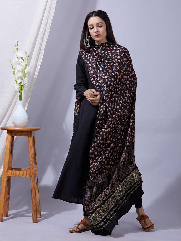 Black Blue Ajrakh Printed Modal Silk Zari Dupatta
