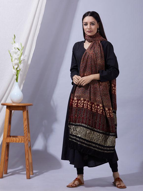 Maroon Ajrakh Printed Modal Silk Zari Dupatta