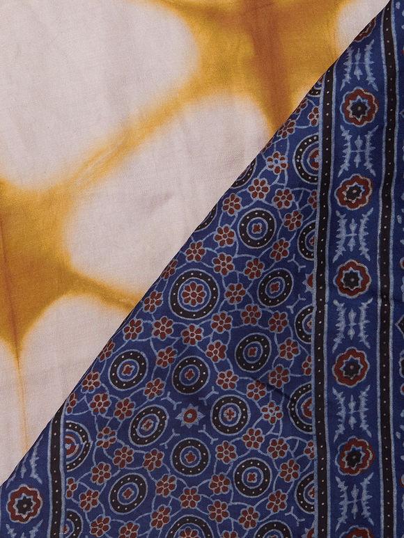 Yellow Blue Ombre Ajrakh Printed Modal Silk Dupatta