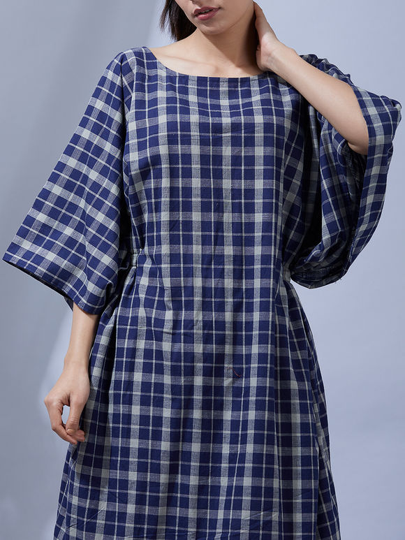 Navy Blue Checkered Cotton Kaftan
