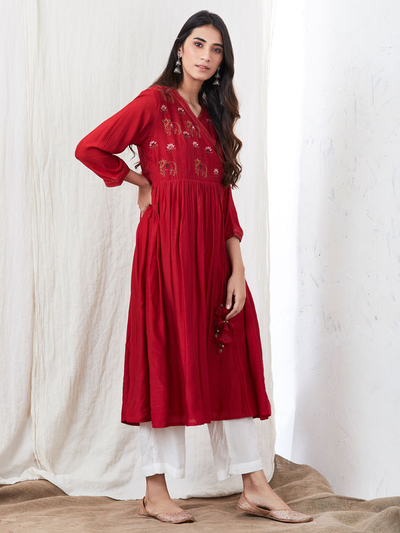 Red Zari Embroidered Cotton Silk Angrakha Kurta