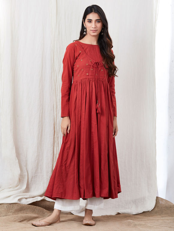 Red Hand Embroidered Cotton Kurta