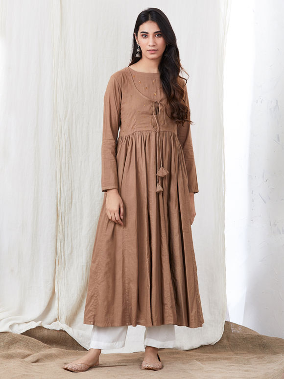 Brown Hand Embroidered Cotton Kurta