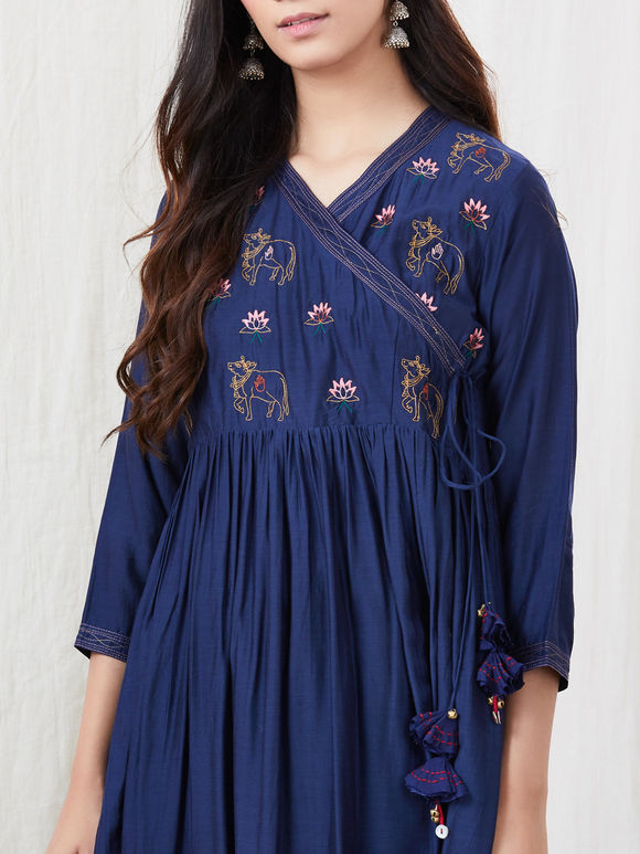 Navy Blue Zari Embroidered Cotton Silk Angrakha Kurta