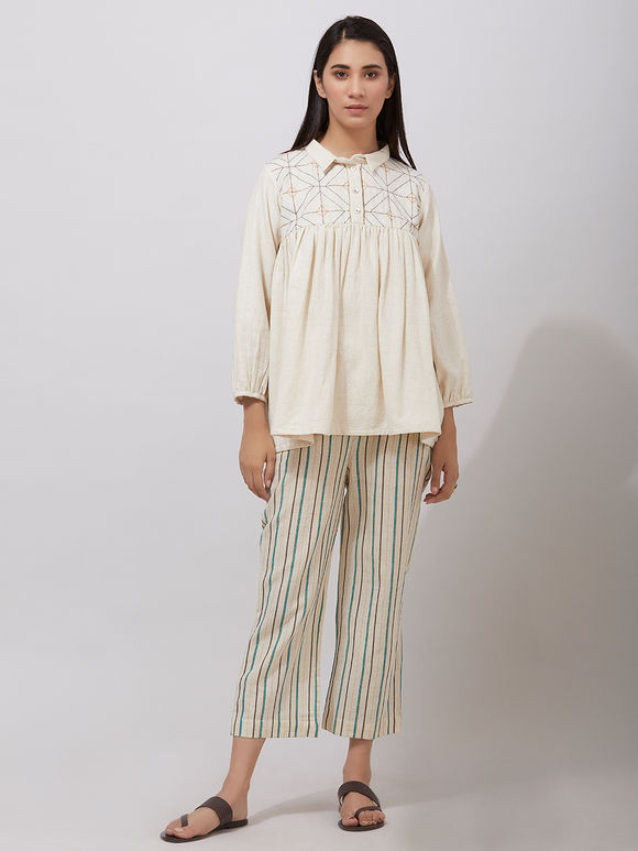 Ivory Khadi Cotton Kantha Embroidered Top