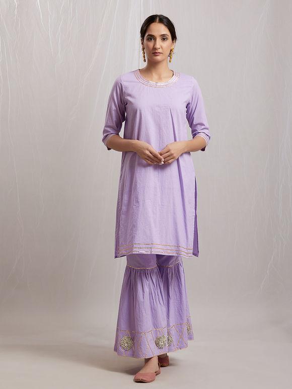 Lilac Gota Muslin Cotton Sharara Suit- Set of 3