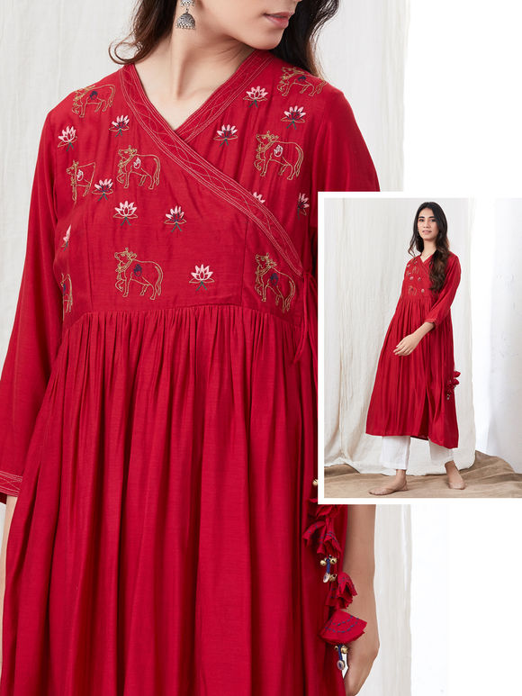 Red Zari Embroidered Cotton Silk Angrakha Kurta with White Palazzo- Set of 2