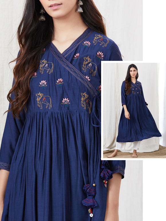 Navy Blue Zari Embroidered Cotton Silk Angrakha Kurta with White Palazzo- Set of 2