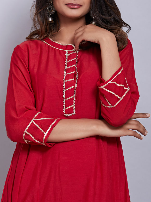 Red Cotton Silk Drape Dress