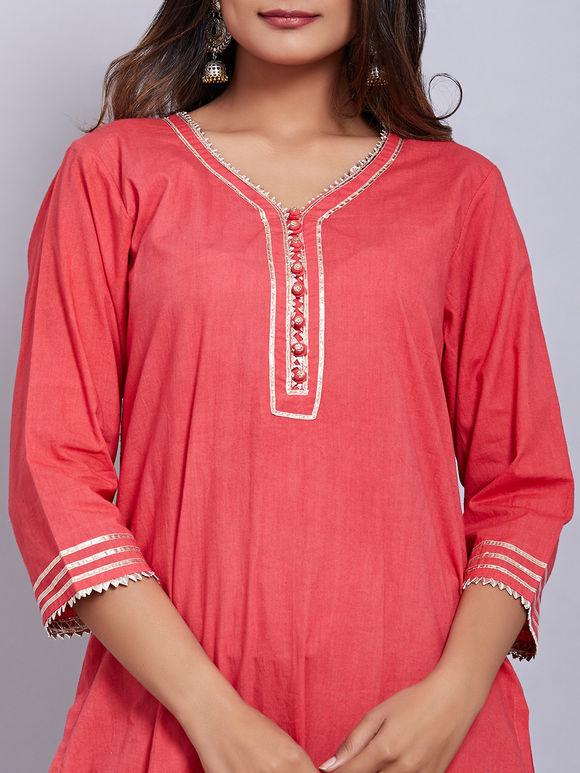 Red Cotton Short Kurta with Blue Dhoti Pants - Set of 2