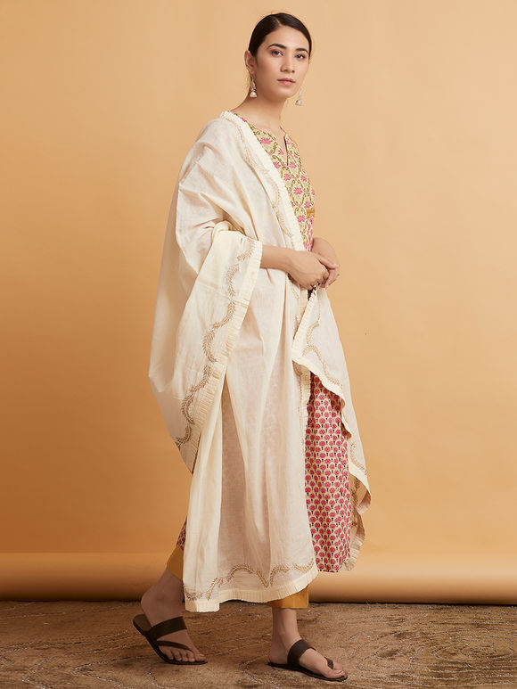 Ivory Hand Embroidered Mulmul Dupatta