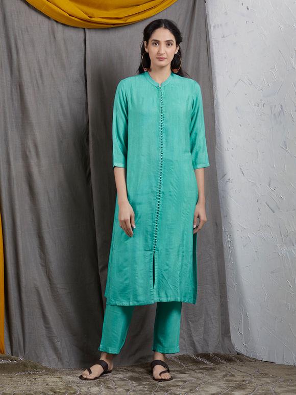 Aqua Blue Tussar Cotton Kurta with Pants and Mukaish Work Chiffon Dupatta - Set of 3