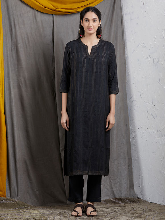 Black Tussar Cotton Kurta
