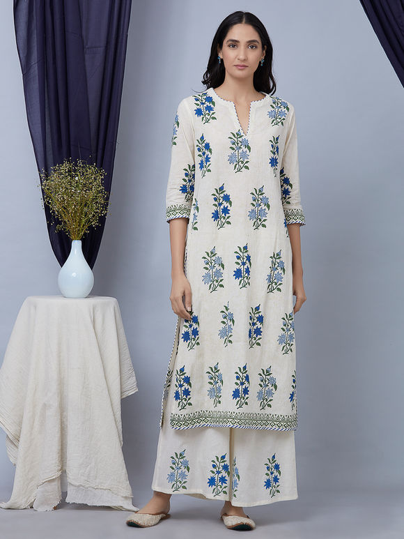 Blue White Hand Block Printed Cotton Suit - Set of 3