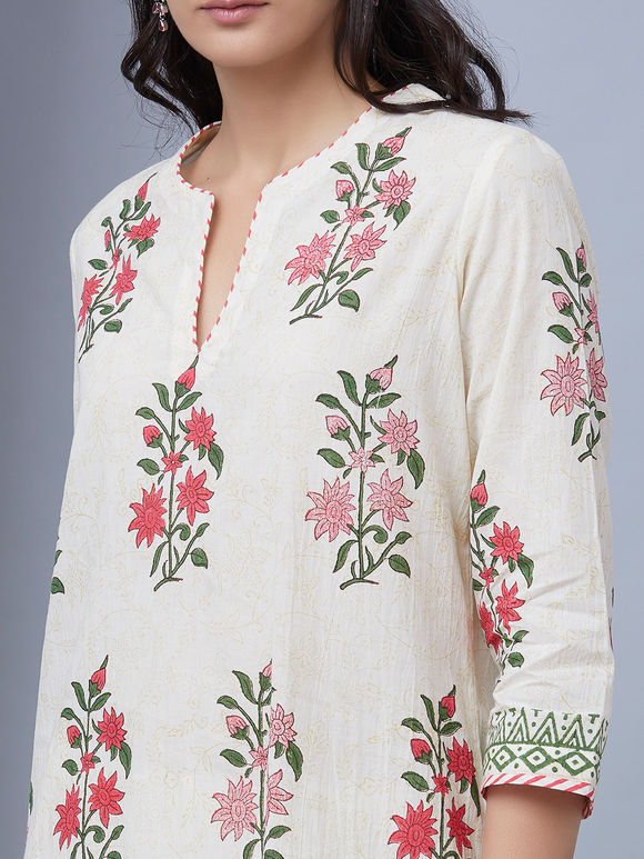 Pink White Hand Block Printed Cotton Kurta