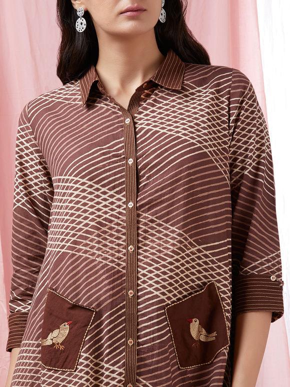 Brown Cotton Printed Asymmetric Kurta with Pants - Set of 2