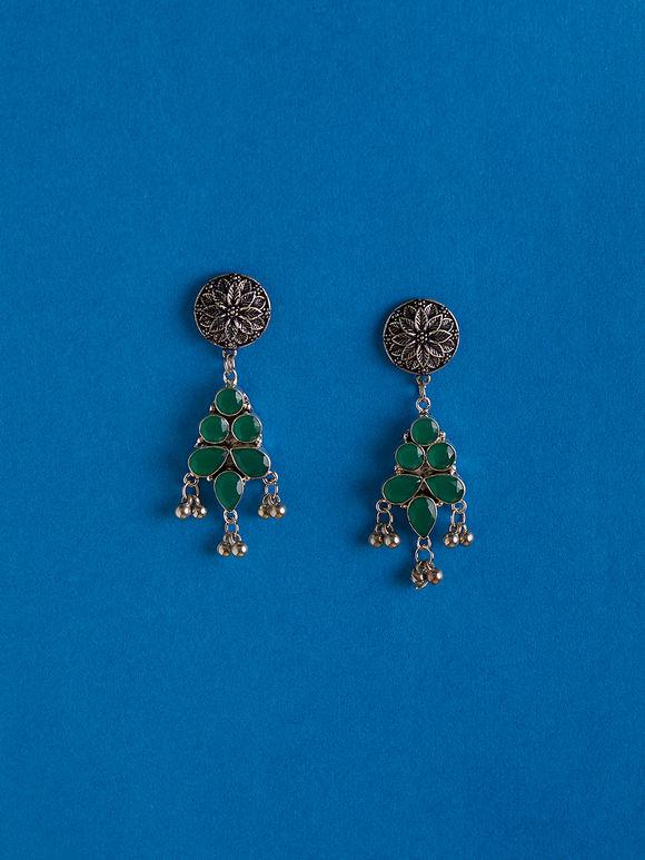 Silver Toned Green Handcrafted Brass Earrings