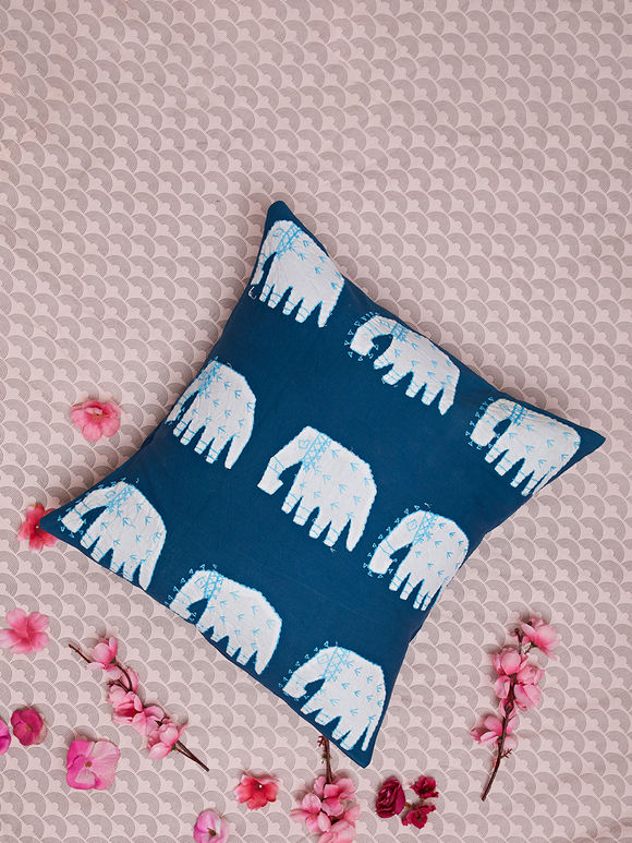 Indigo Hand Embroidered Cotton Cushion Cover