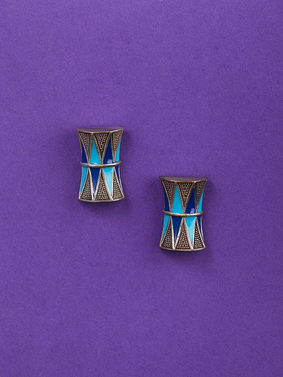 Blue Handcrafted Brass Damru Stud Earrings