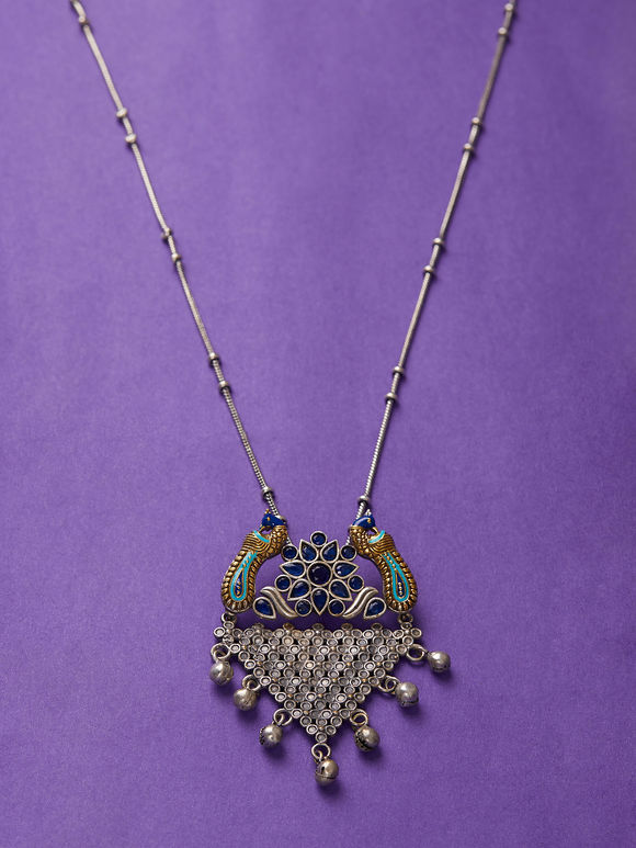 Dual Toned Handcrafted Brass Pendant Necklace