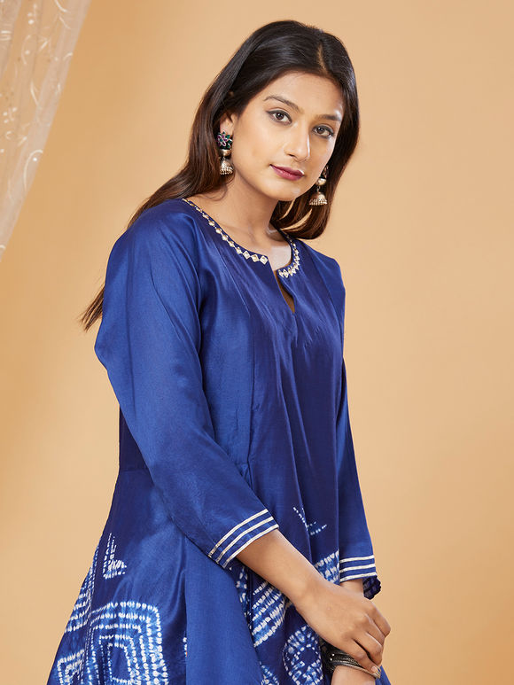 Blue Shibori Dyed Chanderi Asymmetric Kurta