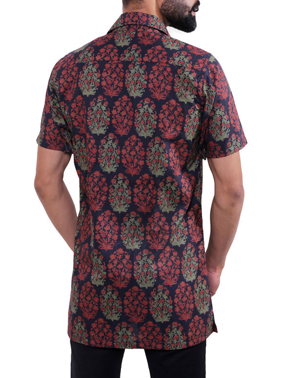Maroon Blue Block Printed Cotton Shirt