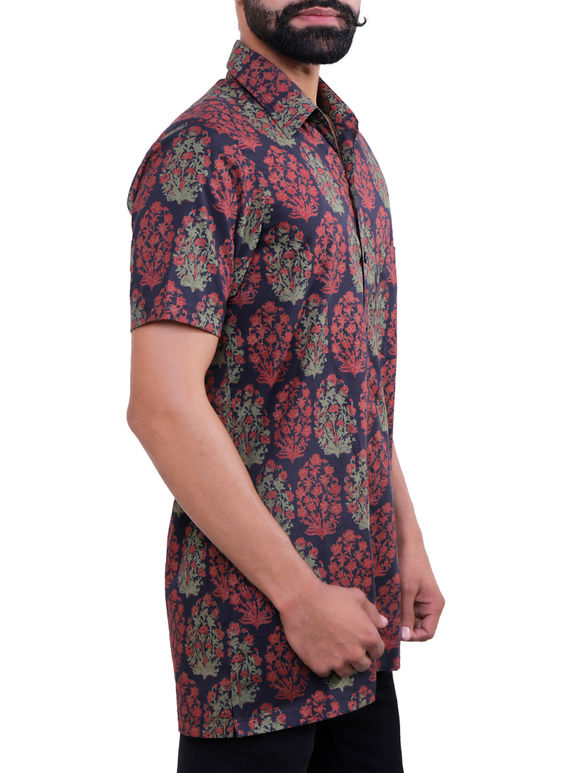Maroon Blue Block Printed Cotton Shirt