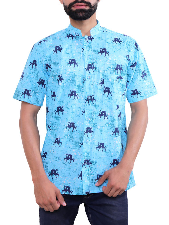 Light Blue Block Printed Cotton Shirt