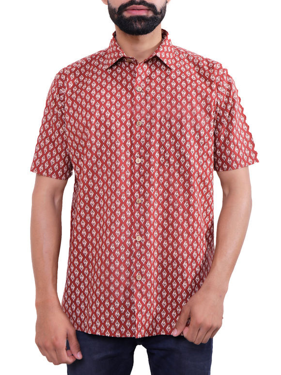 Maroon Block Printed Cotton Shirt