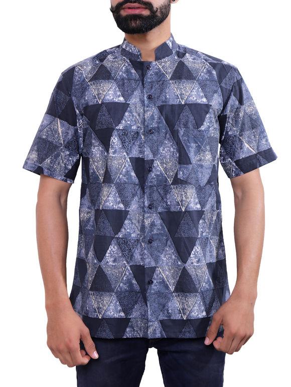 Blue Grey Block Printed Cotton Shirt