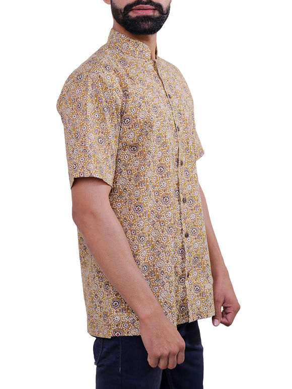 Beige Block Printed Cotton Shirt