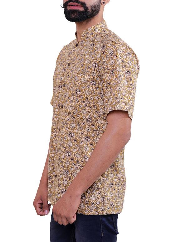Beige Block Printed Cotton Shirt