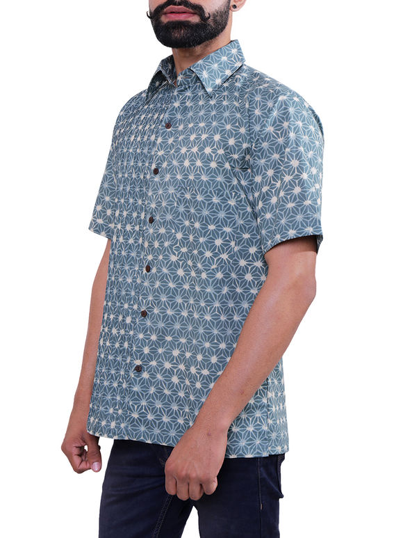 Blue Block Printed Cotton Shirt