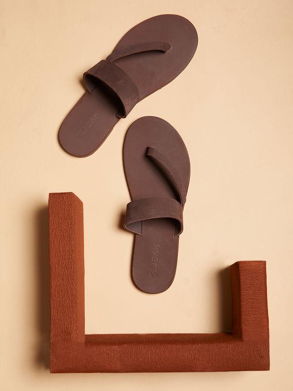 Brown Faye Nubuck Leather Flats