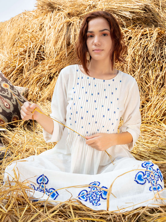 White Embroidered Cotton Dress