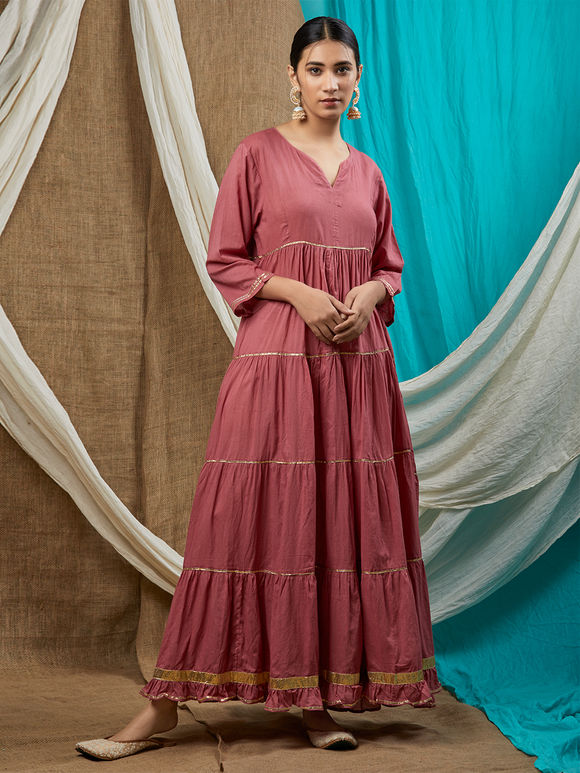 Pink Cotton Mulmul Anarkali Kurta with Cream Cambric Cotton Pants and Hand Block Printed Dupatta - Set of 3