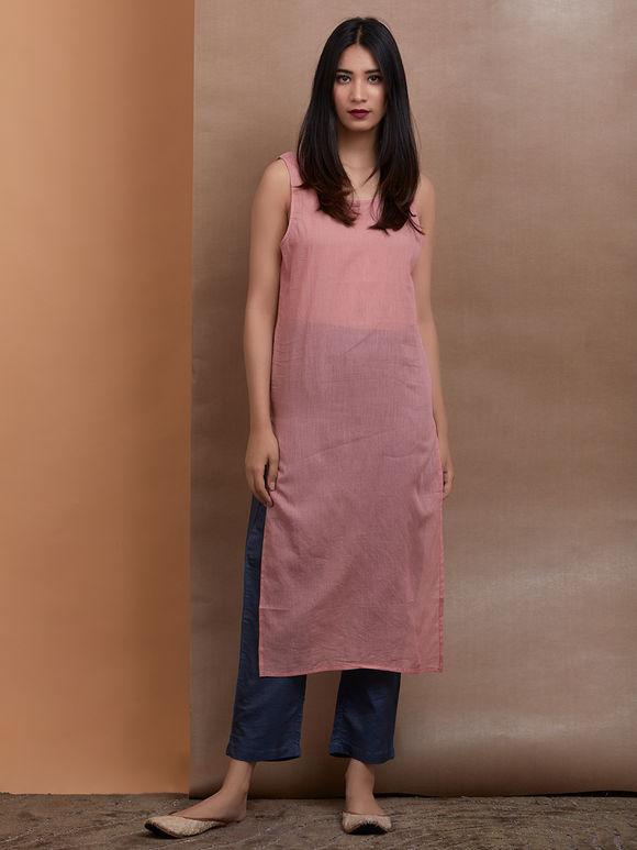 Old Rose Chanderi Silk Kurta with Slip and Navy Blue Cotton Silk Pants - Set of 2