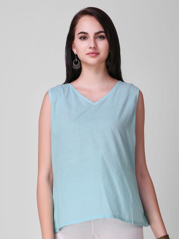 Turquoise Ombre Linen Asymmetric Kurta with Slip- Set of 2