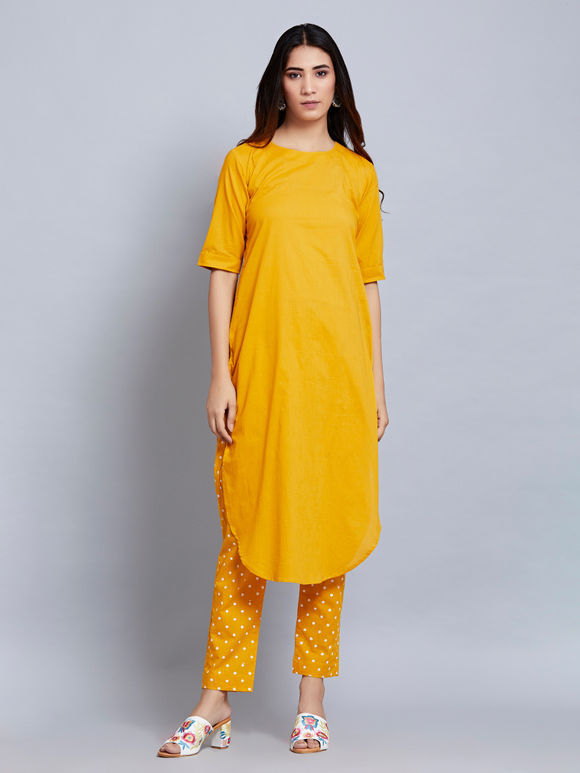 Mustard Yellow Cotton Kurta with Hand Block Printed Pants and Off White Dupatta- Set of 3