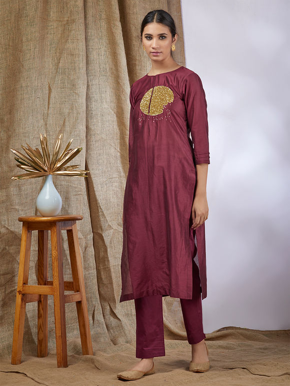 Wine Hand Embroidered Chanderi Kurta with Cotton Pants and Green Hand Block Printed Dupatta - Set of 3