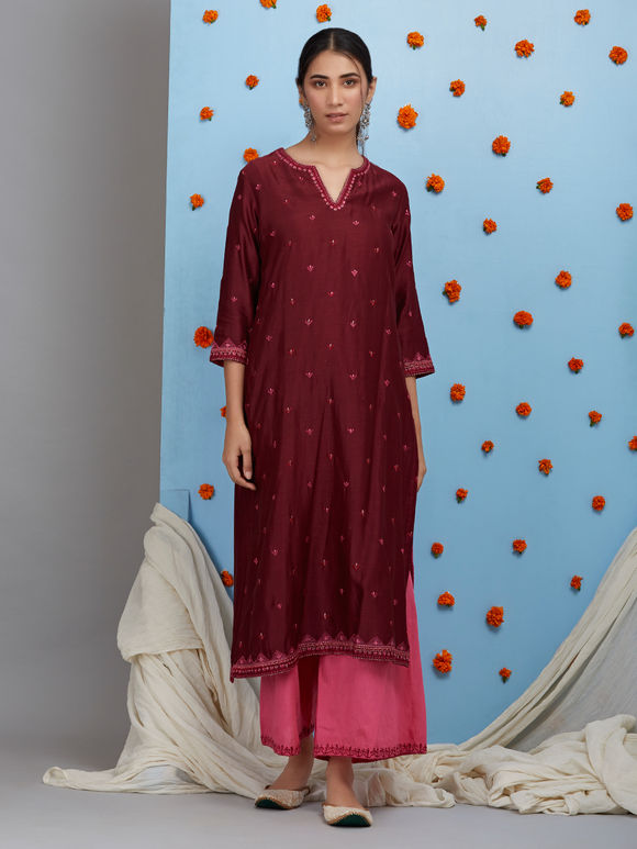 Maroon Embroidered Chanderi Kurta with Cotton Palazzo and Dupatta - Set of 3