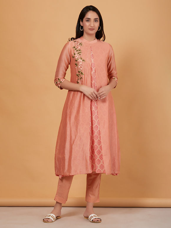 Old Rose Embroidered Chanderi Kurta with Cotton Pants and Olive Green Tie and Dye Kota Silk Dupatta- Set of 3