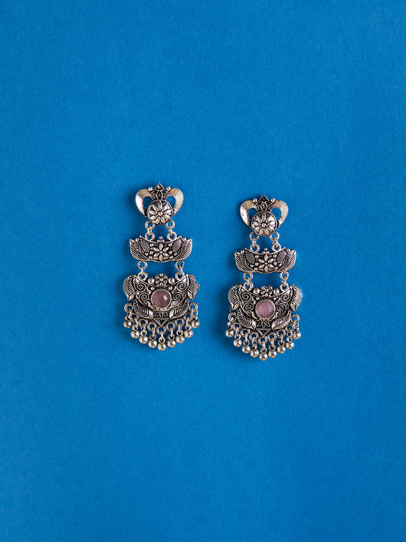 Silver Toned Pink Handcrafted Brass Earrings