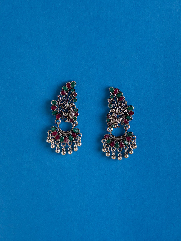 Multicolor Handcrafted Brass Peacock Earrings