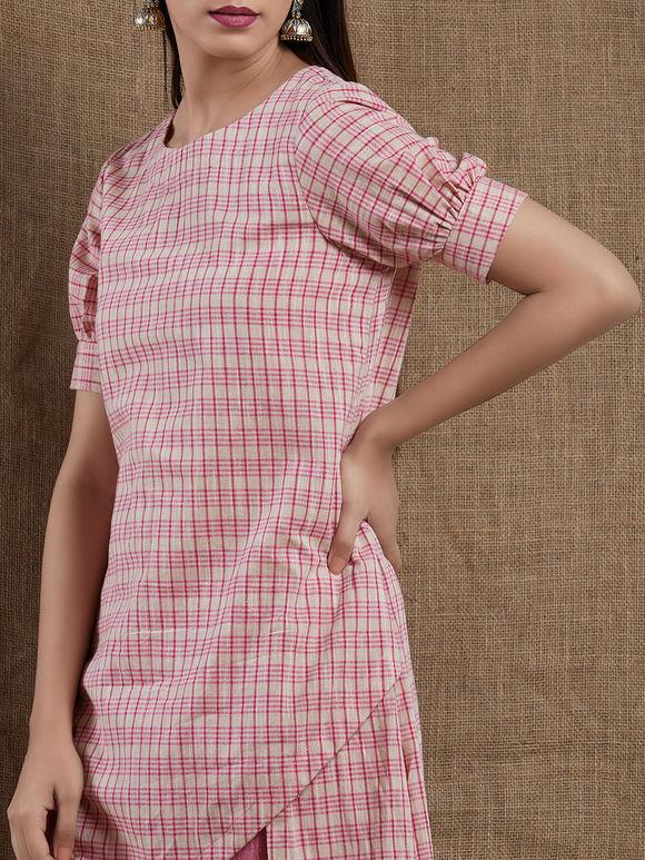 Pink Checkered Asymmetric Cotton Kurta with Pants- Set of 2